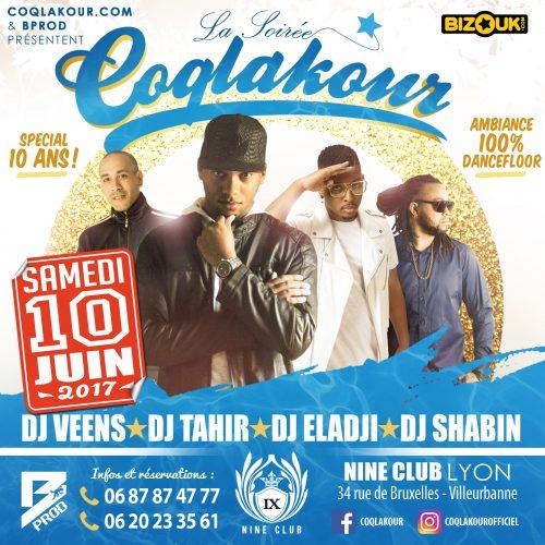 Coqlakour et B.PROD «Bolon Production» présente la soirée Coqlakour le samedi 10 juin 2017 au Nine Club LYON .