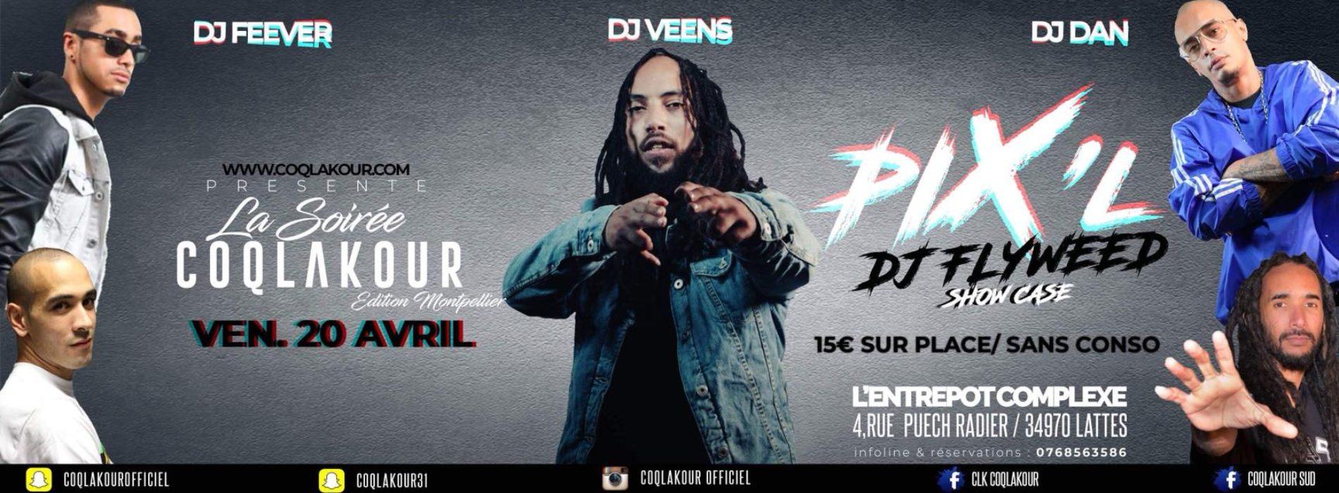COQLAKOUR te donne rendez-vous le 20 Avril à MONTPELLIER à L'ENTREPOT COMPLEXE et le 21 Avril à PARIS au REDLIGHT – Avec PIX-L & DJ FLYWEED / DJ DAN & DJ JAIRO – 2018