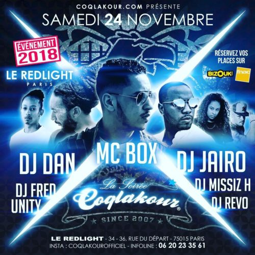 SOIRÉE COQLAKOUR SAMEDI 24 NOVEMBRE 2018 au RED LIGHT PARIS DJ DAN WAYO / DJ JAIRO / djmissizh, dj_fredunity, dj Revo…