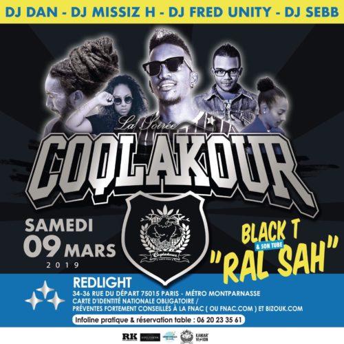 SOIRÉE COQLAKOUR SAMEDI 09 MARS 2019 au RED LIGHT PARIS AVEC BLACK T ET DJ SEBB EN SHOW .
