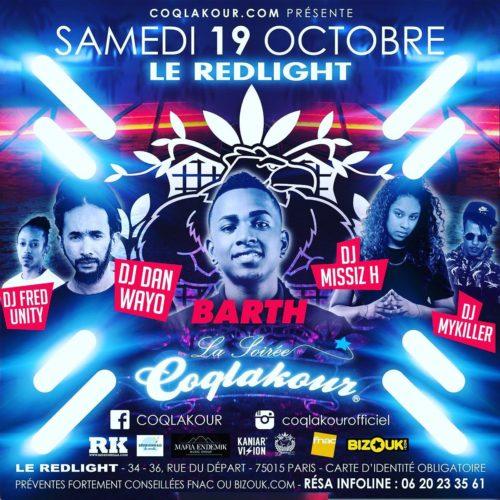 La Soirée COQLAKOUR samedi 19 octobre 2019 au REDLIGHT PARIS – BARTH en SHOW .